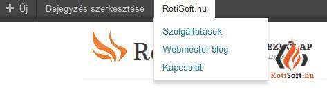 WordPress Admin bar módosítása, eltüntetése, bővítése - rotisoft-adminba-hozzaadottlink