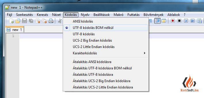 UTF8 mentése BOM nélkül