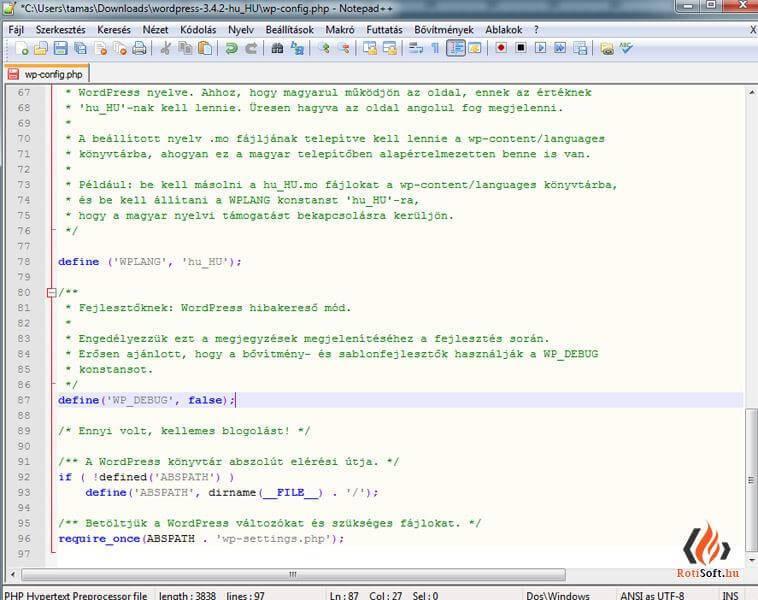 WordPress debug funkció bekapcsolása - wp-config-debug-sor