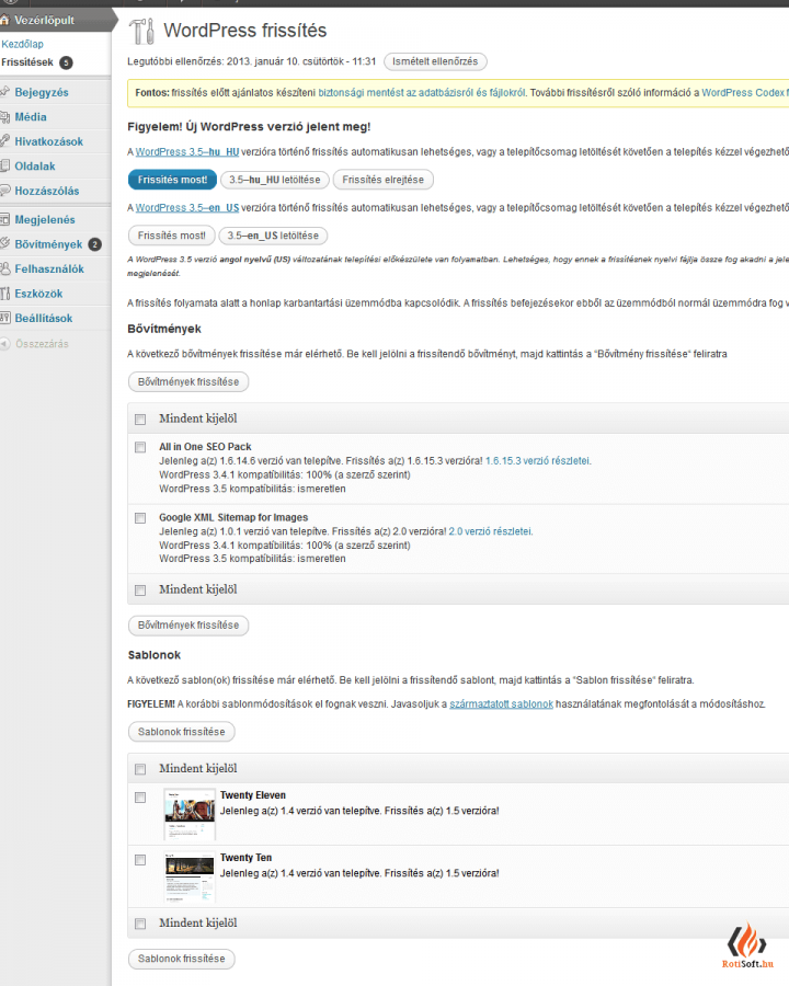 WordPress automatikus és kézi frissítése - wordpress-frissitesi-ablak-1-720x900