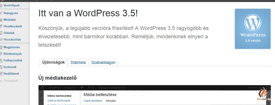 WordPress automatikus és kézi frissítése - wordpress-frissitve-1-900x346