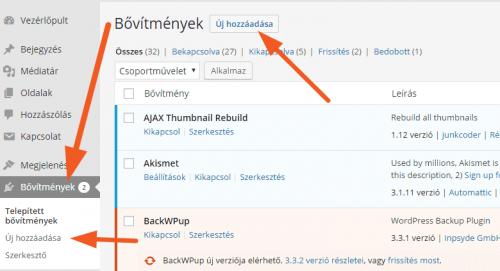 Hogyan telepíts WordPress bővítményt? - bovitmeny-telepites-ujhozzadasa-500x271