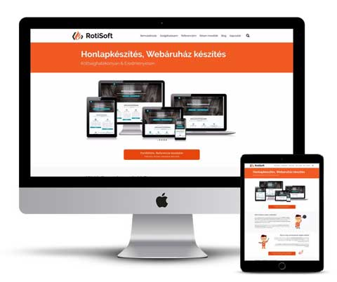 Kedvezményes - Ingyenes weboldal készítés, fenntartás - mobil-rotisoft-mockupkep