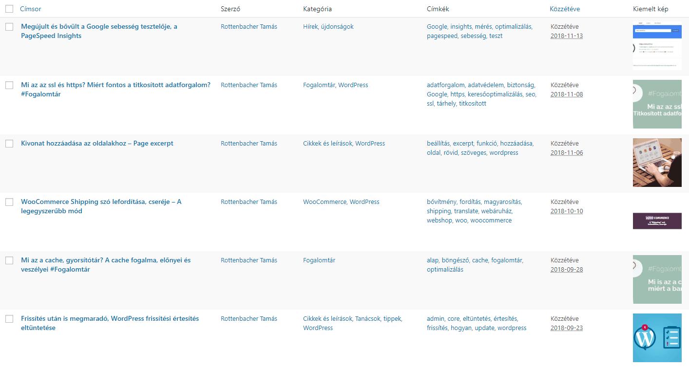 Kiemelt kép megjelenítése a bejegyzések listájában, admin oldalon - bejegyzes-lista-kiemelt-keppel-nagy