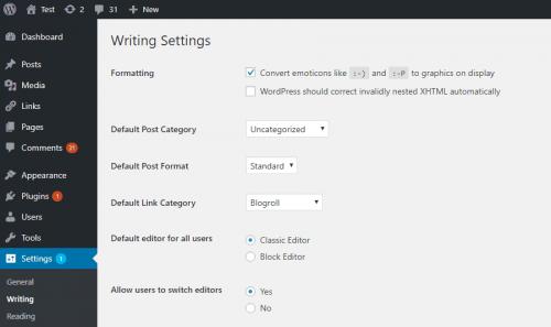 Hagyományos szerkesztő visszaállítása, WordPress 5.0 alatt - hagyomanyos-szerkeszto-beallitas-500x297